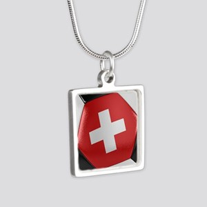 Switzerland Soccer Ball Silver Square Necklace