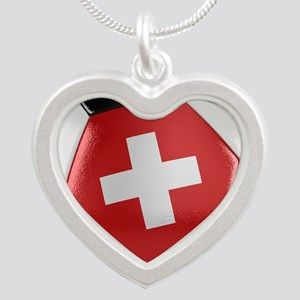 Switzerland Soccer Ball Silver Heart Necklace