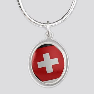 Switzerland Soccer Ball Silver Oval Necklace