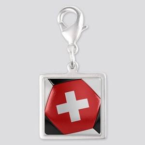 Switzerland Soccer Ball Silver Square Charm