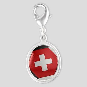 Switzerland Soccer Ball Silver Oval Charm