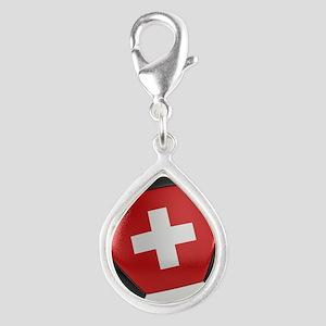 Switzerland Soccer Ball Silver Teardrop Charm