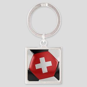 Switzerland Soccer Ball Square Keychain