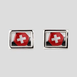 Switzerland Soccer Ball Rectangular Cufflinks