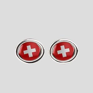 Switzerland Soccer Ball Oval Cufflinks