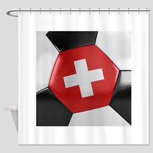 Switzerland Soccer Ball Shower Curtain