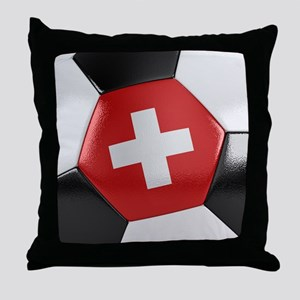 Switzerland Soccer Ball Throw Pillow