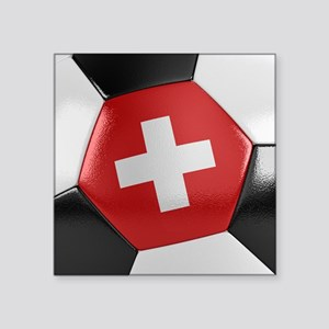 "Switzerland Soccer Ball Square Sticker 3"" x 3"""