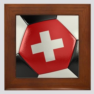 Switzerland Soccer Ball Framed Tile