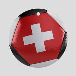 Switzerland Soccer Ball Ornament (Round)