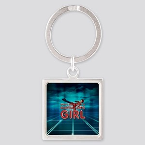 TOP Martial Arts Girl Square Keychain