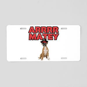 Pirate Boxer Dog Aluminum License Plate