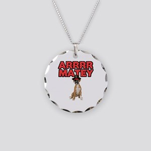 Pirate Boxer Dog Necklace Circle Charm