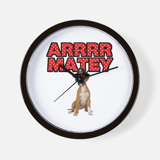 Pirate Boxer Dog Wall Clock