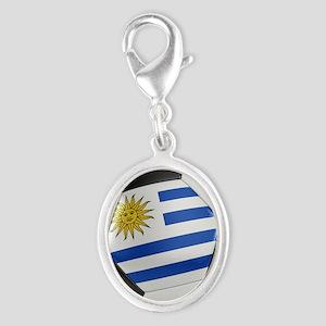 Uruguay Soccer Ball Silver Oval Charm