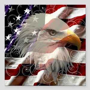 "American Eagle Flag Square Car Magnet 3"" x 3"""