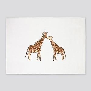 Two Giraffes 5'x7'Area Rug