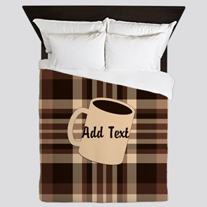 Cup of Coffee plaid dark Queen Duvet