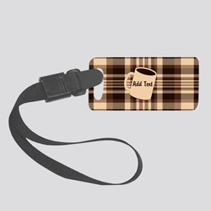 Cup of Coffee plaid dark Small Luggage Tag