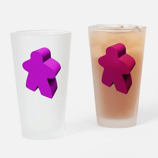 Purple Meeple Drinking Glass