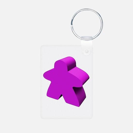 Purple Meeple Aluminum Photo Keychain