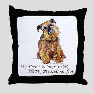 Brussels Griffon Heart Throw Pillow