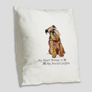Brussels Griffon Heart Burlap Throw Pillow