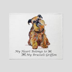 Brussels Griffon Heart Throw Blanket