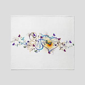 Heart and butterflies Throw Blanket