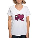 Love Hearts Art Women's V-Neck T-Shirt