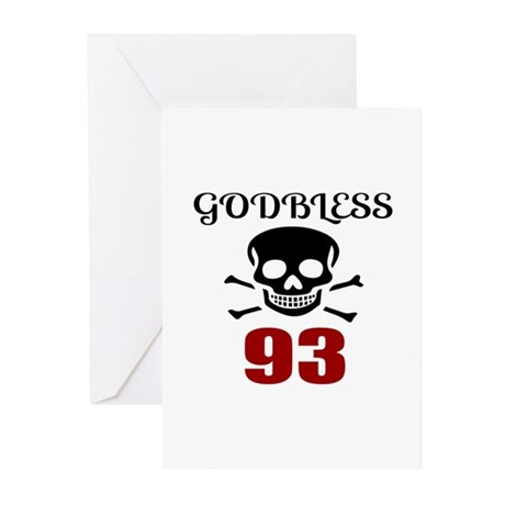 Godbless 93 Birthday Des Greeting Cards (Pk of 10)