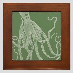 Vintage Octopus in Exquisite Rustic Green Framed T