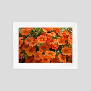 Orange petunia flowers 5'x7'Area Rug