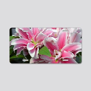 Pink stargazer lilies Aluminum License Plate