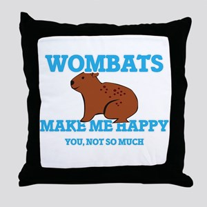 Wombats Make Me Happy Throw Pillow
