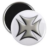 Titanium Chrome Biker Cross Round Magnet
