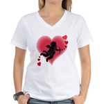 Cupid Love Hearts Women's V-Neck T-Shirt