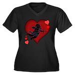 Cupid Love Hearts Women's Plus Size V-Neck Dark T-