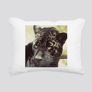 Black Leopard Rectangular Canvas Pillow