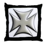 Titanium Chrome Biker Cross Throw Pillow