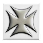 Titanium Chrome Biker Cross Tile Coaster