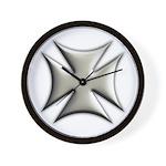 Titanium Chrome Biker Cross Wall Clock