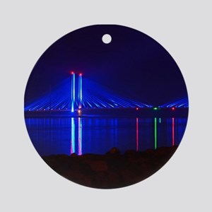 Indian River Bridge at Night Ornament (Round)