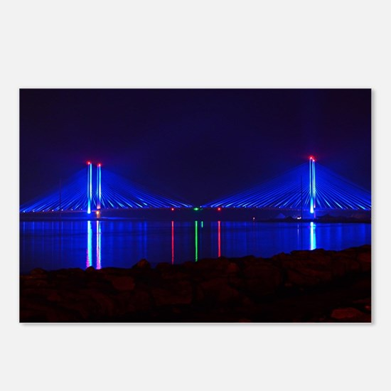 Indian River Bridge at Night Postcards (Package of