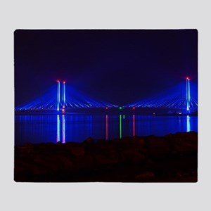 Indian River Bridge at Night Throw Blanket