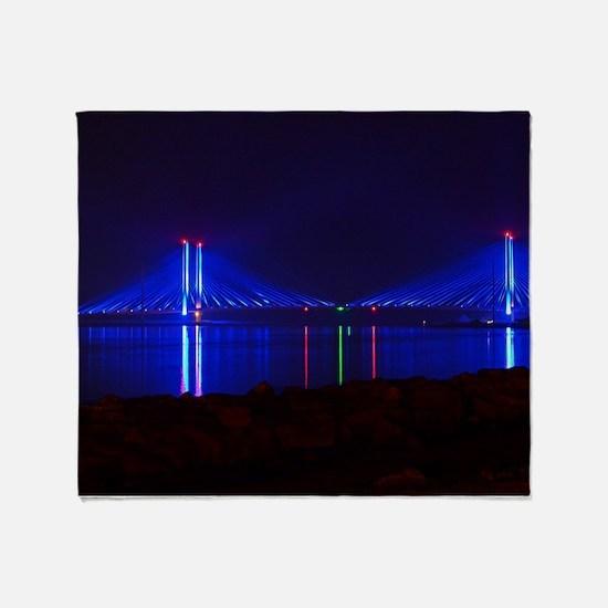 Indian River Bridge at Night Throw Blanket