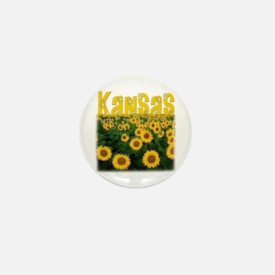 Kansas Sunflower Field Mini Button