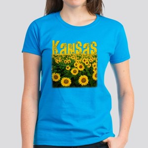Kansas Sunflower Field Women's Dark T-Shirt