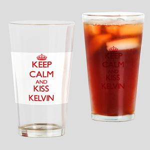 Keep Calm and Kiss Kelvin Drinking Glass