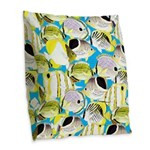 ButterflyfishPattern1 Burlap Throw Pillow